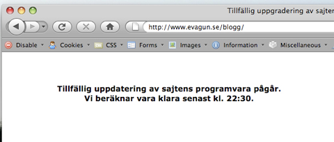 Rubrik: Uppdatering av WordPress