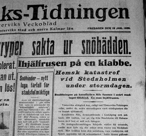 Västerviks-Tidningen den 18 januari 1929.